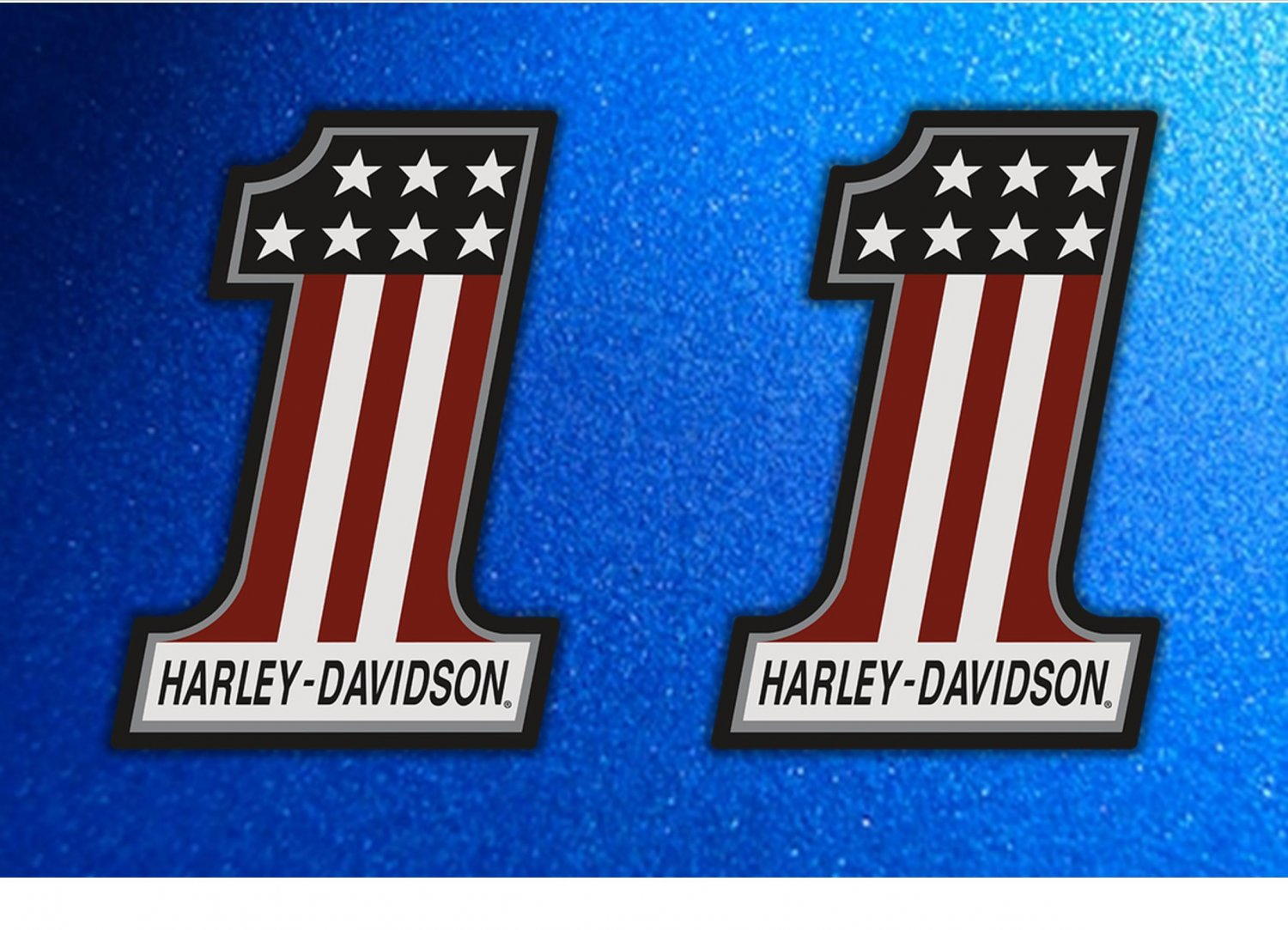 Harley Davidson USA Emblem Number 1 Logo Stickers x 2 Included, (Laminated) Water Resistant (120mm)