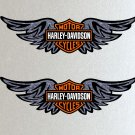 Harley Davidson Wings Orange, Black & White Logo Stickers x2 Included, Laminated Quality 140mm