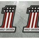 Harley Davidson USA Number 1, Custom LogoStickers x 2 Included  (120mm Height) - High Quality