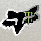 2 x Fox Racing Head, Black with Silver outline, Monster Energy logo Stickers.