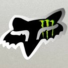 2 x Fox Racing Head, Black with Silver outline, Monster Energy logo Stickers, Bikes Boards etc