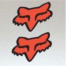 2 x Fox Head, Orange & Black Original Fox Racing logo Stickers (Unique), Bikes Boards etc