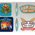 Ron Jon Surf Board Stickers Set X6 Water Resistant (60th Anniversary Cocoa Beach & Parrot)
