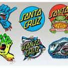 Santa Cruz V2 Board Stickers Set X6 Includes Turtles, Sharks & Hands High Quality Laminated