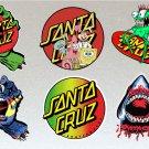 Santa Cruz Board V4 Stickers Set X6 Includes Spongebob, Rasta & Hands Unique Set