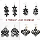 x4 Pair of Black Lace Earrings - Bundle Pack