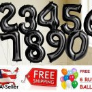 "Black 30"" Foil Number Balloons Happy Birthday Wedding Party+Free Balloon"