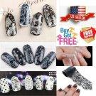 32 Colors Black + White Lace Nail Art Stickers Wraps Transfer Foil *BUY2GET2FREE