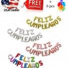 "16"" FELIZ CUMPLEAÑOS (Happy Birthday) LETTERS FOIL BALLOONS+Free balloon x 6"