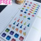 PP414 -- Birthday Party Icons Life Planner Stickers for Erin Condren