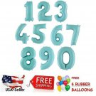 """Matte Light Blue 30"""" Foil Number Balloons Happy Birthday Party + Free Balloon"""