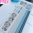 PP446E --  Blue Floral Checklists Planner Stickers for Erin Condren