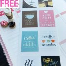 PP004 - 8 pcs Coffee Inspiration Quote Life Planner Stickers for Erin Condren