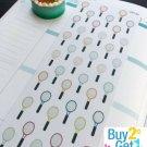PP132 -- Tennis Racket Life Planner Stickers for Erin Condren