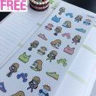 PP466 -- Cute Girl Gym Fitness Icons Life Planner Stickers for Erin Condren