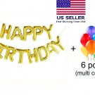 "16"" HAPPY BIRTHDAY Gold Foil Letters Balloons+Free Latex Balloon USA"