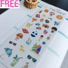 PP337 -- Kawaii Summer Time Icons Planner Stickers for Erin Condren