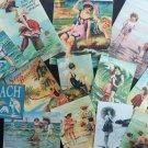 BB024: Lot of 14 Vintage Seashore Girls Greeting Card DIE CUTS for CARD MAKING