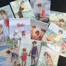 BB86 -- Lot of 12 Vintage Seashore Greeting Card  DIE CUTS for CARD MAKING