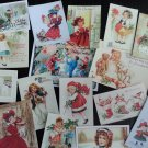 BB37 Lot of 17 Adorable VINTAGE CHRISTMAS GREETING DIE CUTS 4 crafts making