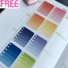 PP215 -- 8pcs Ombre Full Boxes Checklist Life Planner Stickers for Erin Condren