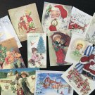 BB61 Lot of 14 Adorable VINTAGE CHRISTMAS GREETING DIE CUTS for crafts making