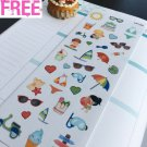 PP338 -- Kawaii Summer Time Icons Planner Stickers for Erin Condren