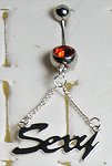 14 Gauge 'Sexy' Dangle Belly Ring