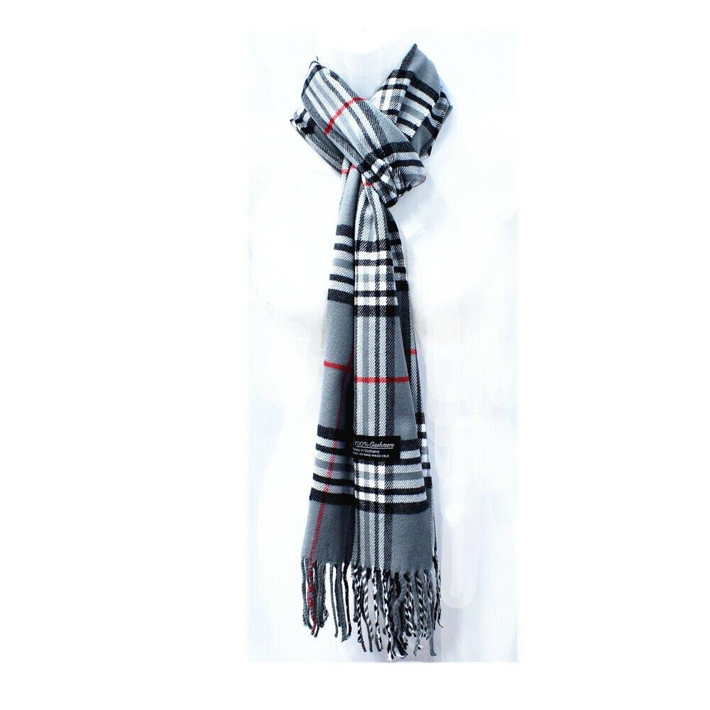 Winter Mens Womens  Wool Stripe Scarf Scarves Tartan GRAY