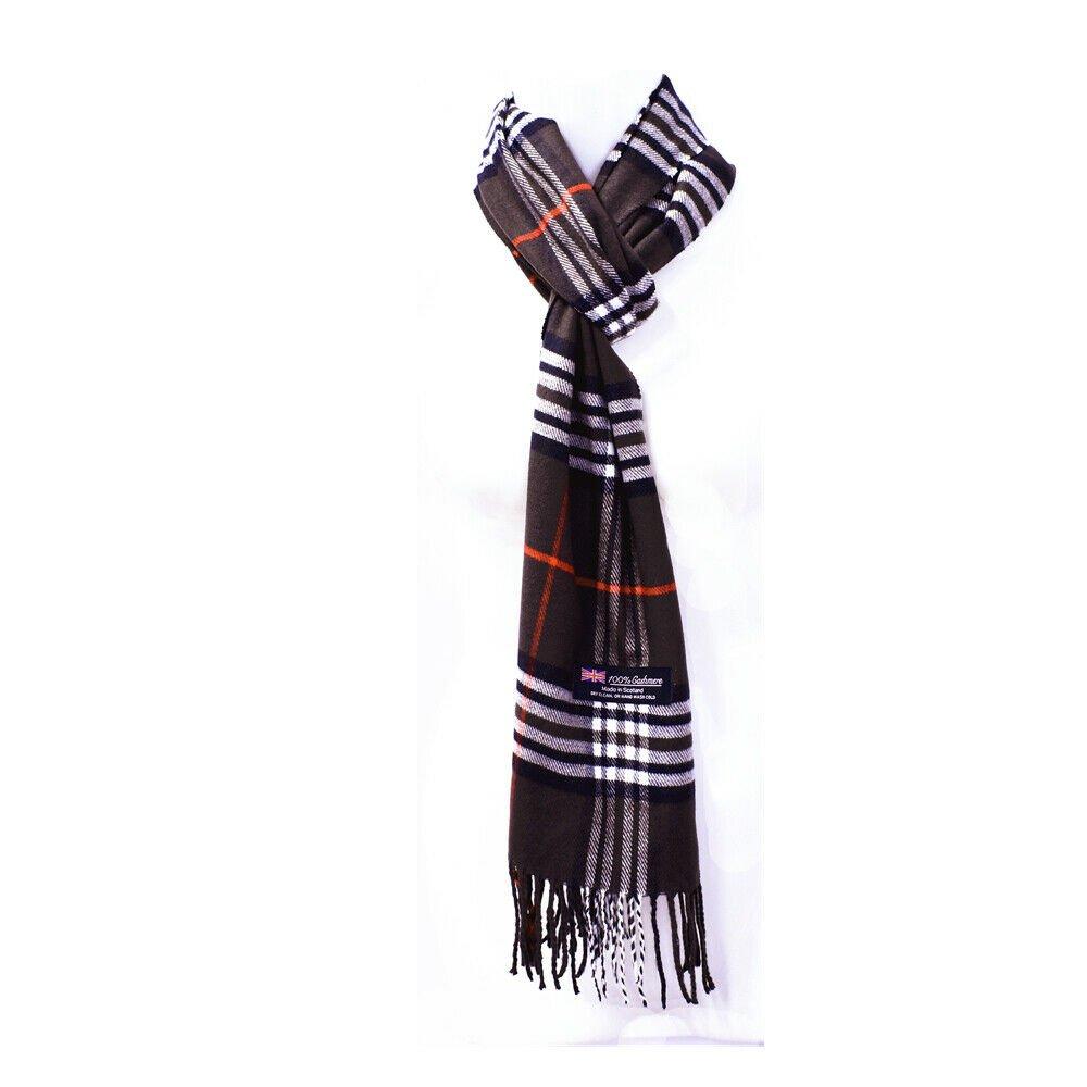 Winter Mens Womens  Wool Stripe Scarf Scarves Tartan BROWN