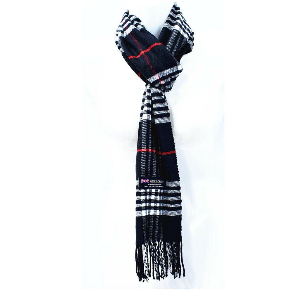 Winter Mens Womens  Wool Stripe Scarf Scarves Tartan BLACK