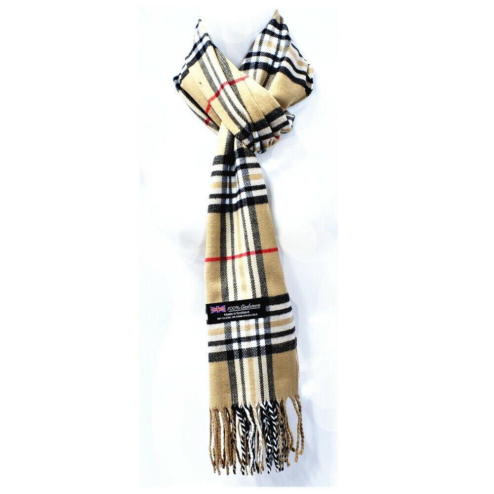 Winter Mens Womens  Wool Stripe Scarf Scarves Tartan BEIGE
