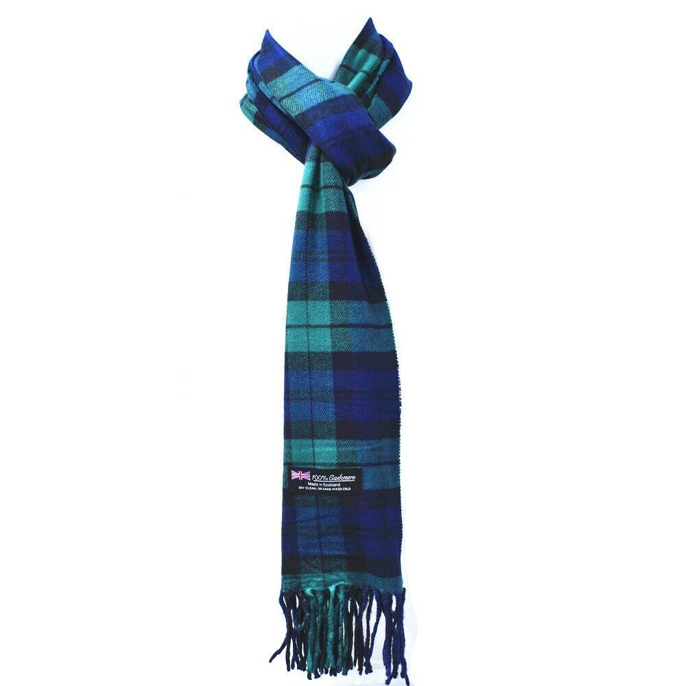 Winter Mens Womens  Wool Stripe Scarf Scarves Stewart GREEN BLUE