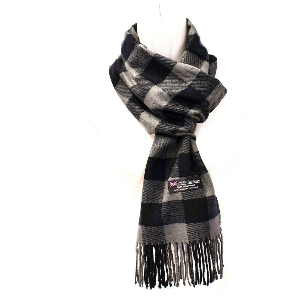 Winter Mens Womens  Wool Stripe Scarf Scarves  Buffalo Check GRAY