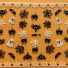 TM Nail Art 3D Decal Stickers Halloween Ghost Spider Web Bat JH073