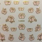 TM Nail Art 3D Decal Stickers Metellic Rose Pretty Pink & Gold TJ003