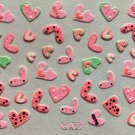 TM Nail Art 3D Decal Stickers Pink Hearts Cute Valentine's Day GA27