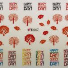 TM Nail Art 3D Decal Stickers Happy Thanksgiving Day Fall Leaves Fall Tree E447