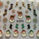 TM Nail Art 3D Decal Stickers Christmas Santa Snowflakes Stockings Holidays XJ GOLD