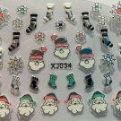 TM Nail Art 3D Decal Stickers Christmas Santa Snowflakes Stockings Holidays XJ SILVER