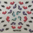TM Nail Art 3D Decal Stickers Red Polkadot Butterflies Pearlescent Flowers YGYY125