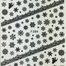 TM Nail Art 3D Decal Stickers Black Snowflakes & Angel Christmas Winter F284
