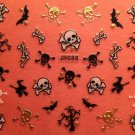 TM Nail Art 3D Decal Stickers Halloween Skull Skeleton Bat Bones Witch JH086