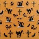 TM Nail Art 3D Decal Stickers Halloween Boo Black Cat Haunted House Bat Cross JH082