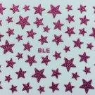 TM Nail Art 3D Glitter Decal Stickers Bright Pink Stars Glittery
