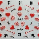 TM Nail Art 3D Decal Stickers Red Hearts Cupid Love Arrow Valentine's Day Q01