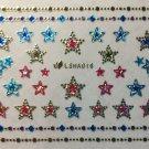 TM Nail Art 3D Glitter Decal Sparkle Metallic Stars w/ Rhinestones Stickers LSHA016