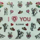 TM Nail Art 3D Glitter Decal Stickers I Love You Valentine's Day Wedding BLE964D