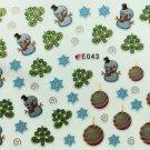 TM Nail Art 3D Decal Stickers Christmas Tree Snowman Ornaments Snowflakes E043
