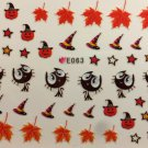 TM Nail Art 3D Decal Stickers Halloween Pumpkin Witch Hat Black Cat Leaves E063
